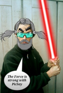 PicSay Pro used to decorate a picture with hair, eyes, glasses, beard, and a lightsaber